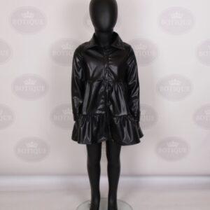 Lola Leatherlook Dress Zwart